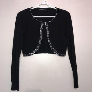 Black Rhinestone Gem & Pearls Long Sleeve Bolero